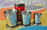 Wholesale 3 Styles Camping Hiking Water Bottles Stainless Steel Retractable Travellers Cup Keychain