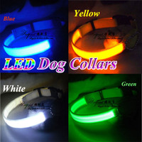 Wholesale New Dog Cat Collars with Rhinestone LED Flashing Reflective Webbing Leashes Pets Safety Night Light