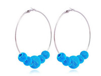 Blue wholesale basketball wives earrings - basketball wives earrings mesh beads hoop earrings