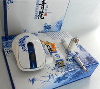 Wholesale valentines blue and white pen u disk G wireless mouse Parure