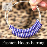 Silver best basketball hoops - Best selling Basketball Wives Earrings pair Crystal Beads New Bling Hoop Earring Retail