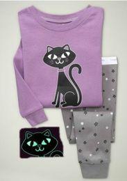 Wholesale Free Ship cat baby girls long sleeve pajamas kids sleepwear pj suit baby apparels S309
