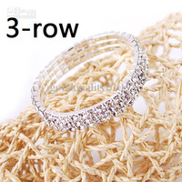 Wholesale 3 Rows Clear Sparkle Rhinestone Elastic Bracelet Cuff Wedding