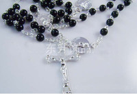 Celtic beaded rosary necklaces - Black Rosary beads Necklace Silver tone Beaded Chain Cross quot Long