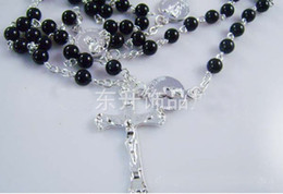 """Black Rosary beads Necklace Silver tone Beaded Chain Cross 28"""" Long free shipping"""