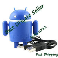 Wholesale Fashion color Google Android Robot Mini Speaker w USB Cable for Tablet PC Notebook Mobile Phone
