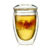 Wholesale 350ml Double Wall Glass Tea Cup with Strainer Cover Teaware Glass Mug