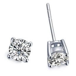 Wholesale HOTSALE 30% Silver Copper Gold EARRINGS 925 Sterling Silver 6mm Zircon GEMSTONE STUD EARRINGS Shining Crystal Stud Earrings MG24