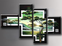 Wholesale Hot sale selling Handmade beautiful Modern Art pine tree Landscape view Floral Live room Oil Paintings Hotel Bedroom decor no Frame