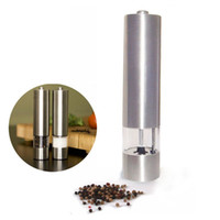 Salt & Pepper Mills peppercorns - Brand New Palm Size Brushed Stainless Steel Grinder Set for Peppercorns Rock Salt Dried her