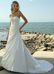 Wholesale Strapless Beaded Pleated Satin Wedding Dress Bridal Dress Wedding Gown