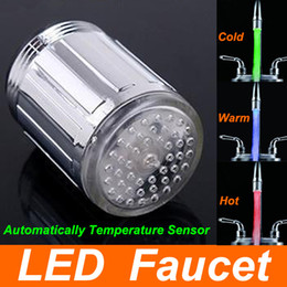 Wholesale 3 Colors LED Water Faucet Glow LED Faucet adapter for most Faucet tap Kitchen Bathroom Tap