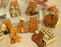 Wholesale Lovely Bears Fridge Magnets Home Decoration One Series Eight Patterns Log Hand painted Crafts