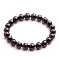 Chinoiserie Women's Nature Crystal A-Class Natural Black Crystal Tourmaline Bracelet 8MM Bead Fashion Jewelry Promotion Gift 20pc Lot