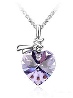 Wholesale Fashion Jewelry Good quality Austrian Crystal necklace Whole Heart necklace violet