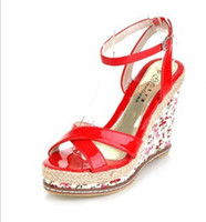 Women Wedges Summer Wholesale New Style hot sale Special Sexy Peep Toe Buckle Floral platform Wedge Cool Sandals EU34-39