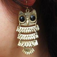 Wholesale Fashion Vintage Style Owl Jewelry Dangle Silver gold owl Earrings Bronze
