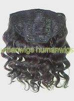 clip in one piece extensions - 20 quot One Piece Human Hair clip in extension Jet Black remy indian hair made Body Wave