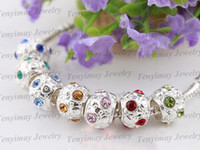 Wholesale Silver plate big hole loose beads mixed crystal round alloy charm beads fit jewelry DIY