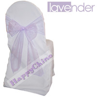 Wholesale 100PCS Lavender Wedding Party Banquet Chair Organza Chair Sash Satin Chair Sash Chair Decorations