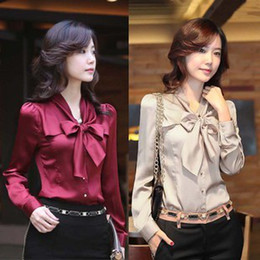 Wholesale Lady Bowknot Long Sleeve Shirt Wine Beige