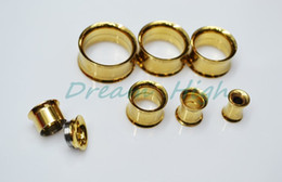 Wholesale Golden Flesh Tunnels Internally Threaded Ear Plugs Titanium Trumpet shaped Fashion Ear Piercing Body