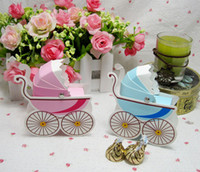 Wedding   50 pcs Blue Pink Classic Cute Pram Favor Boxes Baby Shower Favors