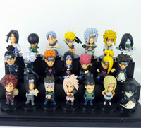 background black - 21 set Naruto Dolls Toys Black background doll Cartoon doll model Birthday gift ornaments