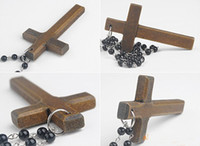 Wholesale black rosary crystal beads necklace Good wood NYC cross necklace off
