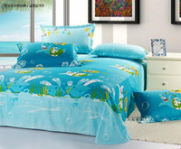 Wholesale New beautiful Cartoon size Kids child Bed Quilt Cover Set bed in a bag blue