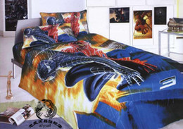 Wholesale New beautiful spiderman Cartoon size Kids Bed Quilt Cover Set bed in a bag
