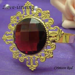FREE DHL shipping-New Arrivals-100pcs Crimson Red Gem Gold Plated Napkin Rings Wedding Bridal Shower