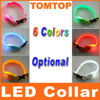 Wholesale 6 colors Glow LED Cat Dog collars Pet Flashing Light Up Safety Collar do mix order H8034
