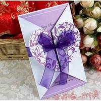 Wholesale Purple Heart Invitation Wedding Invitation Card FFF