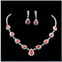 Wholesale Red rhinestone earring necklace set red crystal jewelry set fashion necklace set