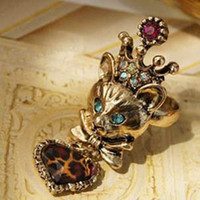 Wholesale Punk rings Reiki kitten fairy Leopard grain peach heart pendant ring fashion jewelry hot sale