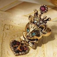 Wholesale Punk rings Reiki kitten fairy Leopard grain peach heart pendant ring fashion jewelry hot sale