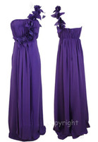 Wholesale Purple One Shoulder Long Maxi Evening Prom Dress Chiffon Handmate Flowers Floor Length Empire Skirt