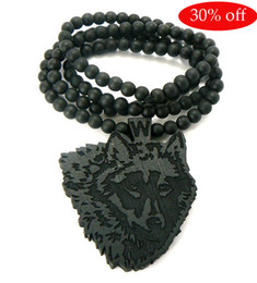 Hip Hop HIPA wood wolf pendant Piece Good wood nyc Good wood necklace 10pcs lot