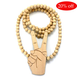 20% off!WOODEN PEACE SIGN PENDANT Hip Hop WOOD BEADED NECKLACE GOOD CHAIN BLACK BROWN