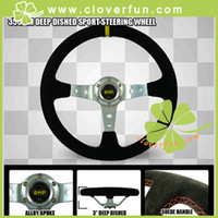 Wholesale NEW OMP mm Deep Dished Real Suede Racing Sport Steering Wheel Silver Spoke
