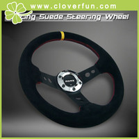 Wholesale MOMO mm Deep Dish Sport Racing Real SUEDE Alloy Steering Wheel