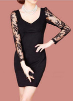 Women' s Dresses E30 Elegant Black Lace V- Neck Slim Fash...