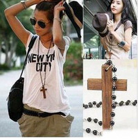 Wholesale Wood Cross Beads Necklaces Jewelry Chain Necklaces Women s pendant Necklace Ornament Hot Sale DHL