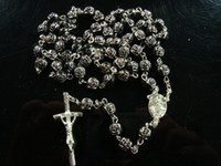 Wholesale Rosary Necklaces Jewelry religious Jesus Cross Black Rose Beads pendant Necklace Ornament