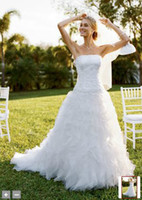 2012 - 2012 New Strapless White Embroidery Beaded A Line Bridal Gown Wedding Dresses CH515