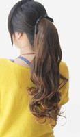 Wholesale 3pcs ladies curl clip in ponytail tie style hair extension synthetic hair pieces wigs