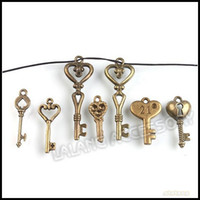 Wholesale Assorted Key Charm Pendants Antique Bronze Jewelry Findings Fit Necklace Chain