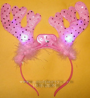 Wholesale The masked ball hoop Christmas antlers flash card issuers luminous sequins