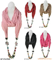 fashion cotton scarf - Inspired Colourful Jewellery Scarf jewelry Pendant womens scarves fashion Cotton scarves